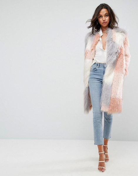 "Asos Patched Faux Fur Mongolian Coat in pink - """"Coat by ASOS Collection, Soft-touch faux fur, Fully..."