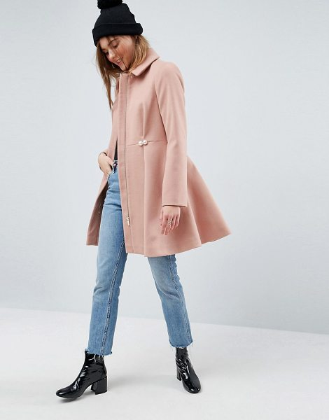 ASOS DESIGN pearl trim skater coat in pink