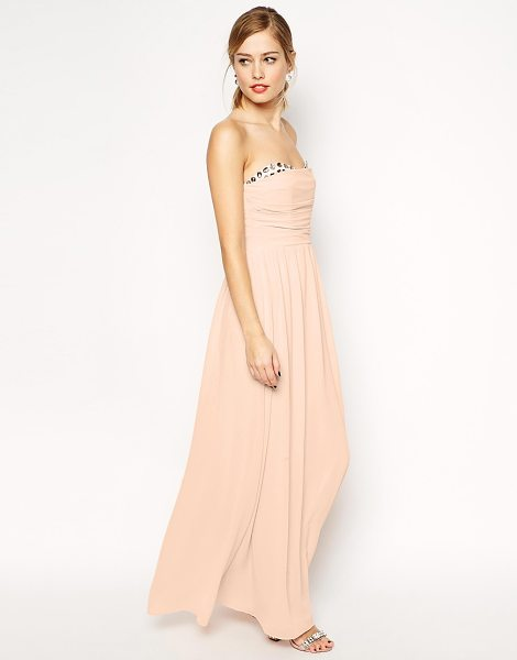 Asos Peekaboo jewel maxi in pink - Evening dress by ASOS Collection, Lightly textured, semi...