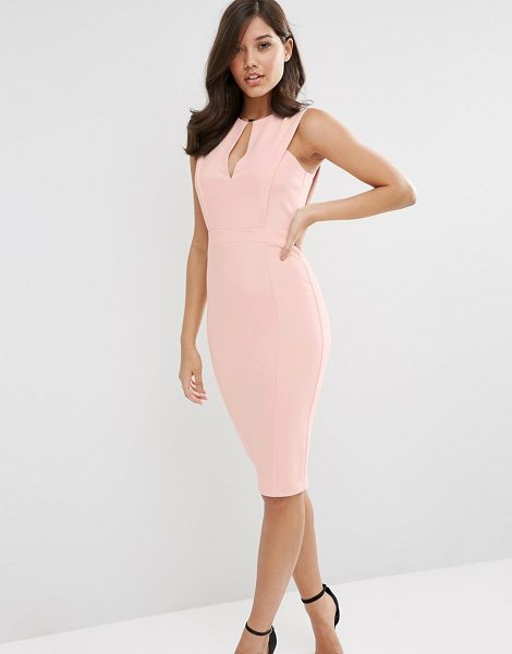 Asos Pencil Dress with Plunge Neckline in pink - Pencil dress by ASOS Collection, Smooth stretch fabric,...