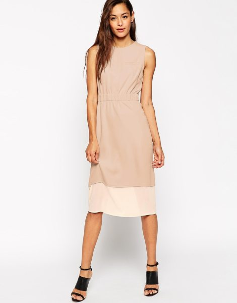 Asos Pencil dress with sheer panel and elastic belt in nude - Pencil dress by ASOS Collection Lightweight, woven...
