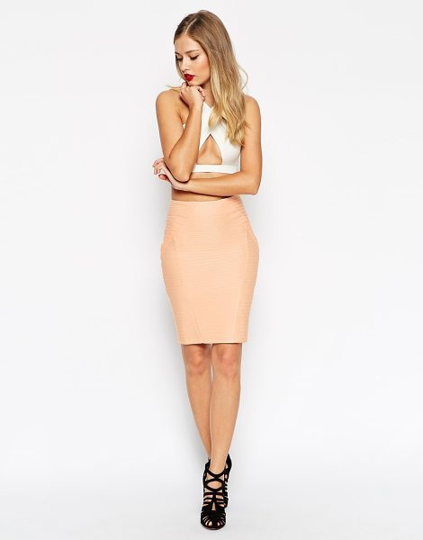 Asos Pencil skirt in bandage rib in nude - Skirt by ASOS Collection Mid-weight firm-stretch fabric...