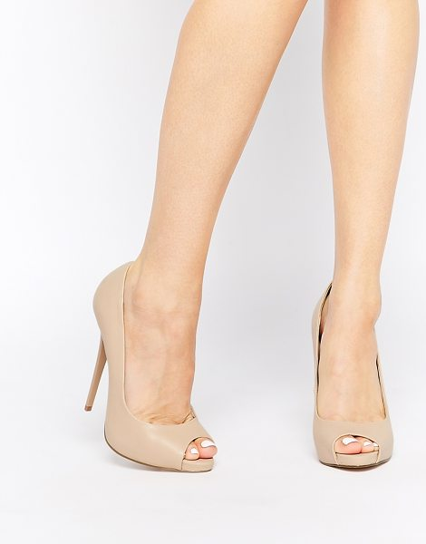 Asos Penzance high heels with peep toe in nude - Heels by ASOS Collection Leather-look upper Peep toe...