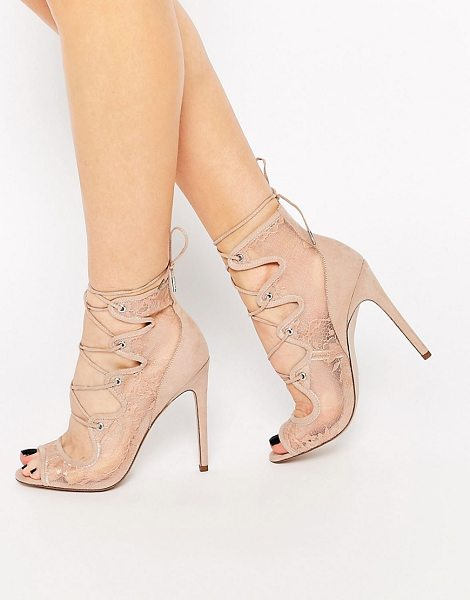 Asos Perception lace up heels in nude - Heels by ASOS Collection Sheer lace upper Faux suede...