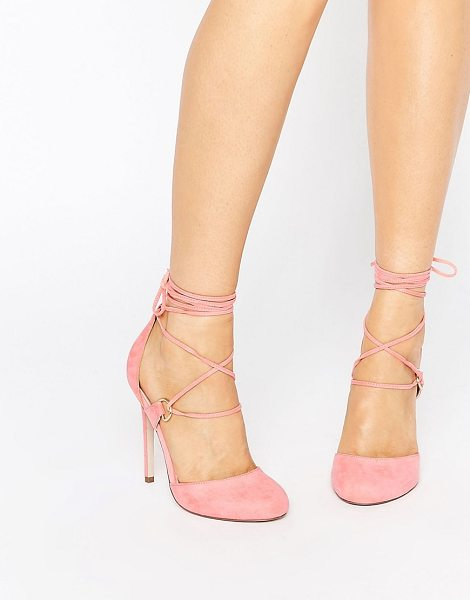 Asos PERSEVERE Lace Up High Heels in pink - Heels by ASOS Collection, Faux-suede upper, Lace-up...