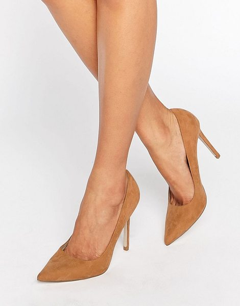 Asos PERU Pointed High Heels in beige - Heels by ASOS Collection, Textile upper, Slip-on style,...
