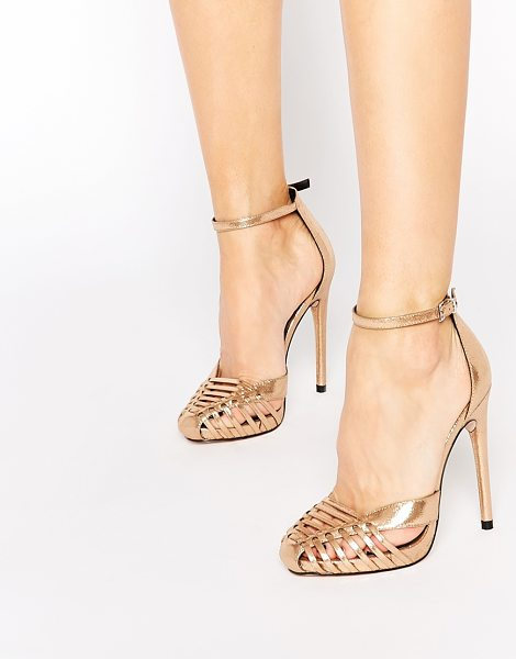 Asos Petal caged heels in pink - Heels by ASOS Collection, Lightly textured metallic...