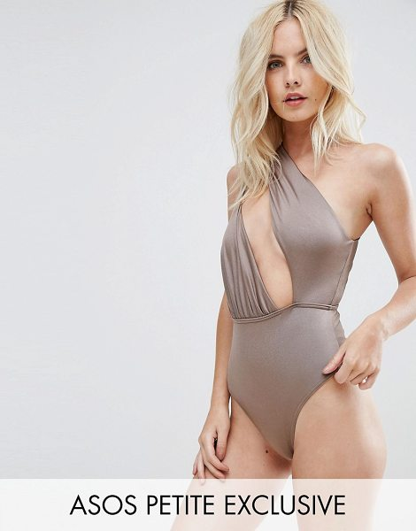 Asos PETITE Asymmetric One Shoulder Glam Swimsuit in brown - Swimsuit by ASOS Collection, Metallic swim fabric,...
