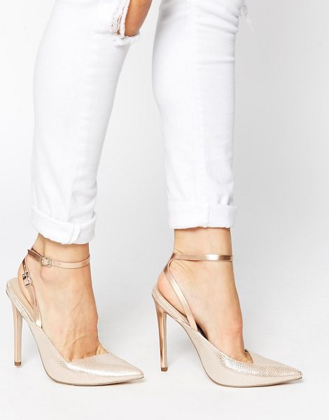 Asos Play on words pointed high heels in beige - Heels by ASOS Collection, Textured, leather-look upper,...