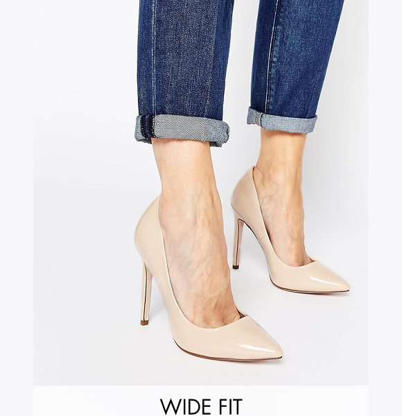 Asos PLAYFUL Wide Fit Pointed Heels in beige - Heels by ASOS Collection, Patent leather-look fabric,...