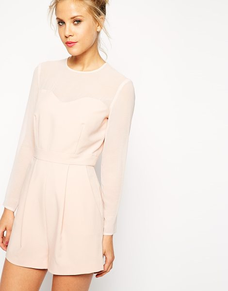 Asos Playsuit with sheer sleeves in nude - Romper by ASOS Collection Soft touch crepe fabric Crew...