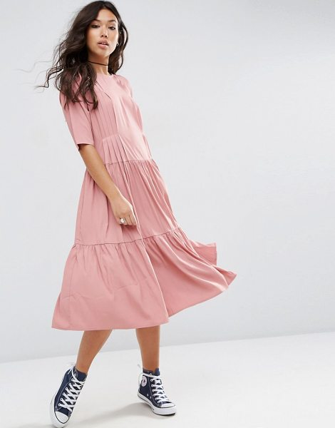 Asos Pleat Front Smock City Maxi Dress in pink - Dress by ASOS Collection, Woven fabric, Round neckline,...