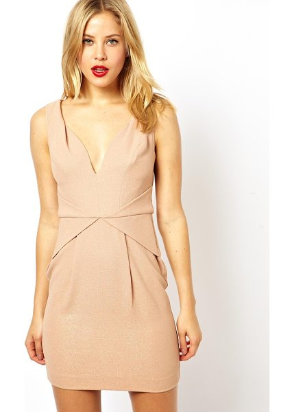 Asos Pleat waist deep v tulip dress in gold