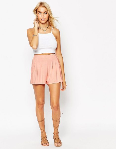 Asos Pleated Culotte Shorts in pink