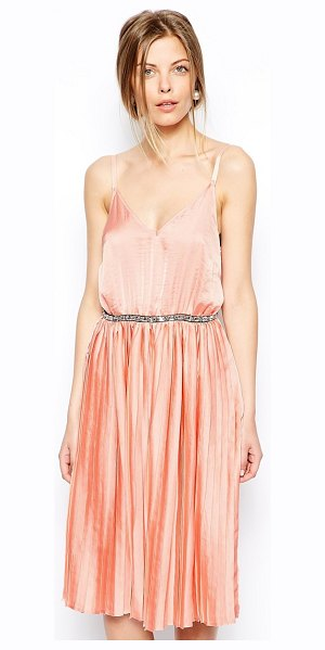 ASOS Pleated embellished waist midi dress in nude - Machine Wash According To Instructions On Care Label....