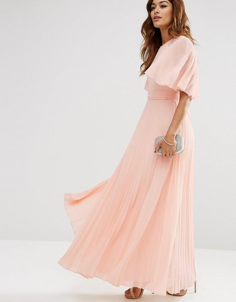 Asos Pleated Flutter Sleeve Caftan Maxi Dress in pink - Maxi dress by ASOS Collection, Lightweight pleated...