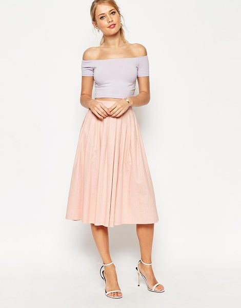 Asos Pleated midi linen skirt in nude - Midi skirt by ASOS Collection Soft-touch linen-blend...
