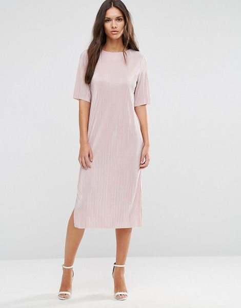 Asos Pliss T-shirt Dress in pink - Midi dress by ASOS Collection, Slinky pleated fabric,...