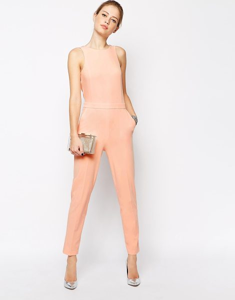 Asos Plunge back embellished jumpsuit in nude - Jumpsuit by ASOS Collection Soft-touch, woven fabric...