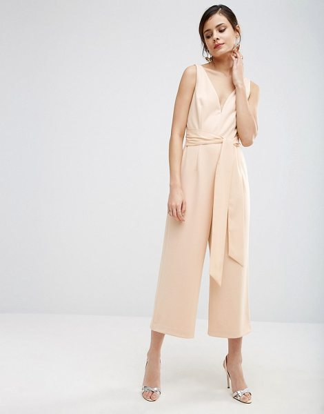 "Asos Premium Structured Plunge Jumpsuit with Tie Belt in pink - """"Jumpsuit by ASOS Collection, Woven fabric, Plunge..."