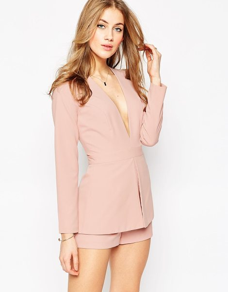 Asos Plunge Romper with Peplum Detail in pink - Romper by ASOS Collection, Woven fabric, Plunging...
