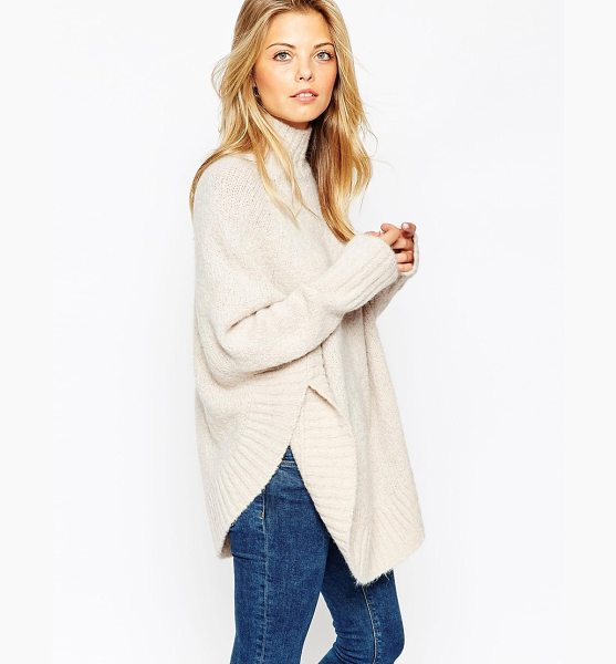 Asos Poncho with funnel neck in boucle knit in mink