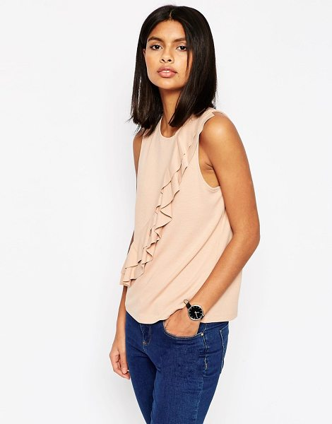 ASOS Ponte shell top with double ruffle detail - Top by ASOS Collection Soft-touch ponte Round neckline...