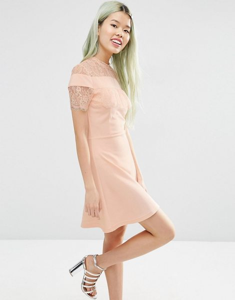 Asos Ponte Skater Dress with Mesh & Lace Insert in pink - Skater dress by ASOS Collection, Soft-touch stretch...