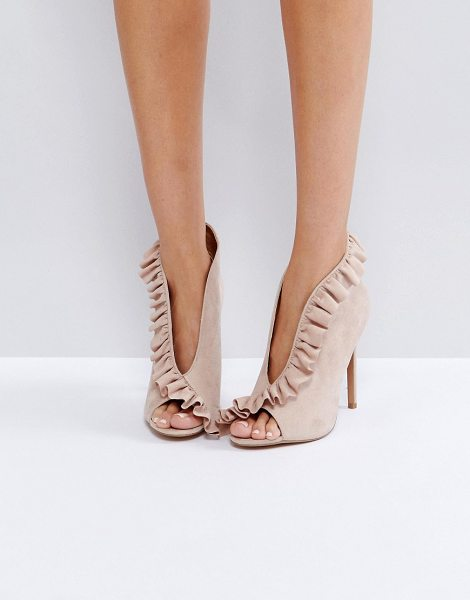 "Asos PORT Ruffle Peep Toe High Heels in beige - """"Heels by ASOS Collection, Faux-suede upper, Slip-on..."