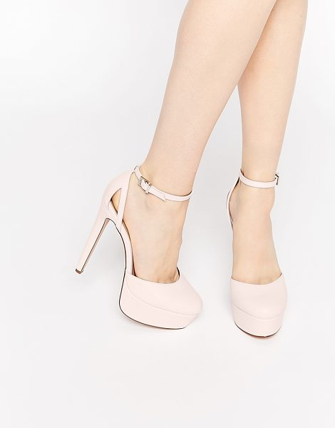 Asos POUT Platform Shoes in pink - Heels by ASOS Collection, Smooth, leather-look upper,...