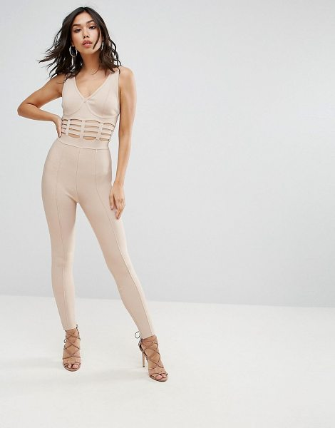 "ASOS DESIGN asos bandage jumpsuit with caged waist detail in nude - """"Jumpsuit by ASOS Collection, Firm-stretch bandage..."