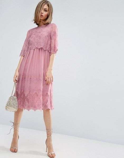 "ASOS PREMIUM Double Layer Pretty Embroidered midi dress in pink - """"Dress by ASOS Collection, Lightweight chiffon,..."