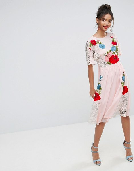 ASOS DESIGN premium embroidered midi dress with open back in pink