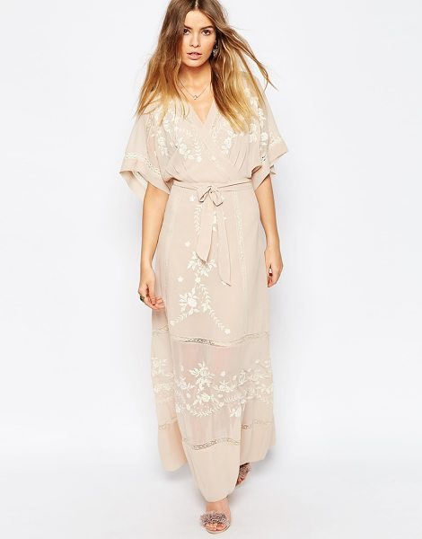 Asos Premium embroidered kimono maxi dress in pink - Maxi dress by ASOS Collection, Embroidered semi-sheer...