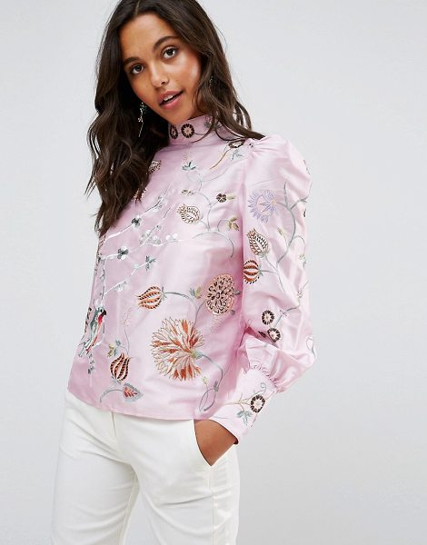 ASOS Premium Embroidered Top with Exaggerated Sleeve in pink - Top by ASOS Collection, Woven fabric, High neck,...