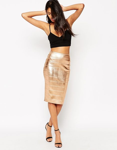 Asos Premium foil bandage pencil skirt in rose gold - Pencil skirt by ASOS Collection, Metallic foil...