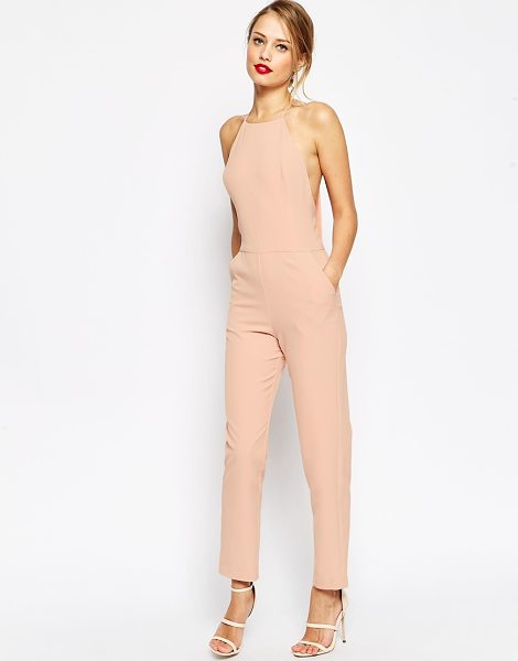 Asos Premium halter neck jumpsuit in blush - Jumpsuit by ASOS Collection Smooth, woven fabric High...