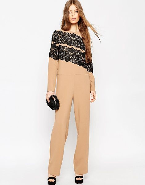 ASOS Premium Jumpsuit with Lace Applique - Jumpsuit by ASOS Collection, Thick woven fabric,...