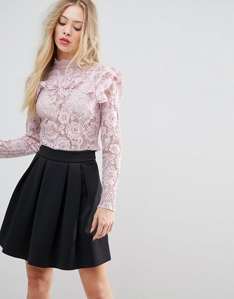 """ASOS Premium Lace Crop Top in blush - """"""""Top by ASOS Collection, Sheer lace, High neck, Ruffle..."""