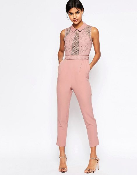 Asos Premium lace jumpsuit with collar detail in nude - Jumpsuit by ASOS Collection Lightly textured woven...