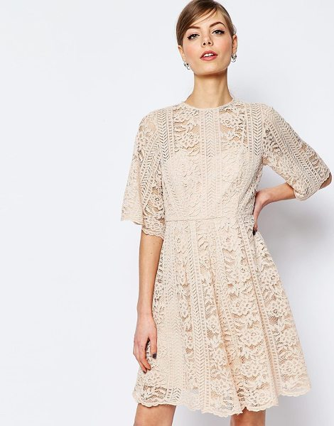 Asos Premium Lace Skater Dress With Angel Sleeve in pink - Lace dress by ASOS Collection, Sheer lace, Sweetheart...