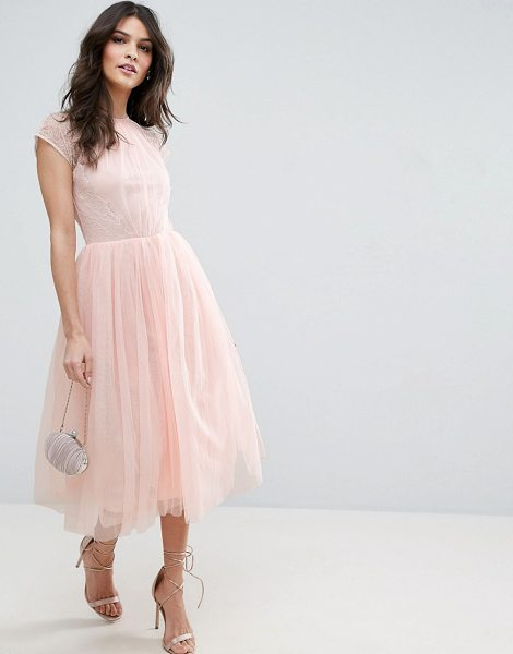 "ASOS PREMIUM Lace Tulle Midi Prom Dress - """"Midi dress by ASOS Collection, Lined tulle, Crew neck,..."