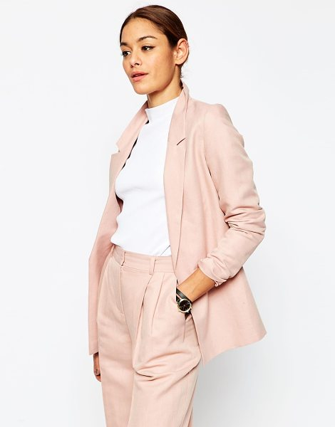 Asos Premium Linen Clean Suit Blazer in pink - Blazer by ASOS Collection, Linen-mix fabric, Fully...