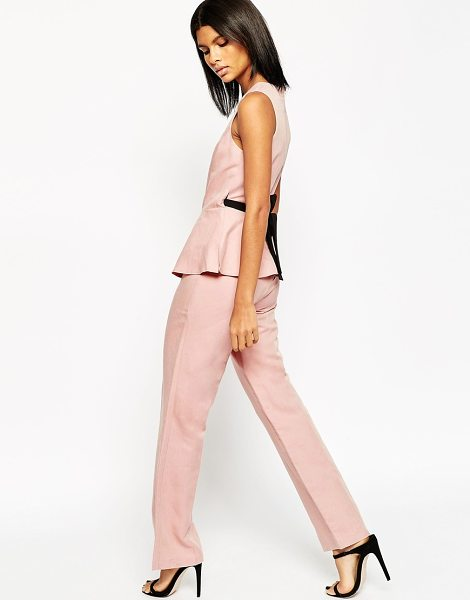 Asos Premium Linen Jumpsuit with Peplum Detail in pink - Jumpsuit by ASOS Collection, Linen-mix fabric, Round...