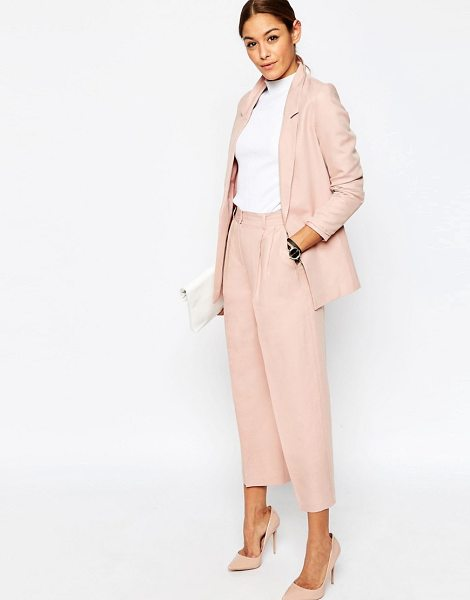 Asos Premium Linen Suit Culottes in pink - Culottes by ASOS Collection, Linen mix fabric, High...