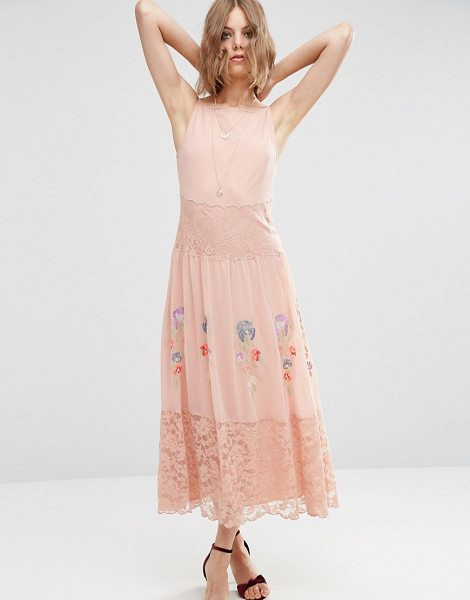"Asos PREMIUM Maxi Slip Dress With Neon Embroidery in pink - """"Maxi dress by ASOS Collection, Textured crepe fabric,..."