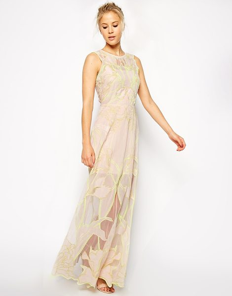 Asos Premium nouveau maxi dress in nude - Dress by ASOS Collection Embroidered chiffon fabric Mesh...