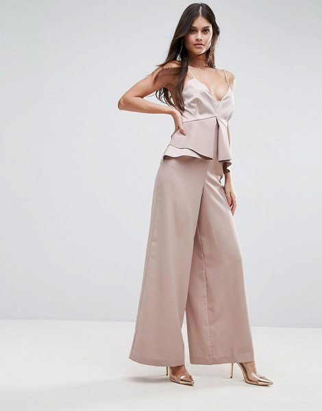 Asos Premium Occasion Jumpsuit with Pephem in pink - Jumpsuit by ASOS Collection, Smooth woven fabric, Plunge...