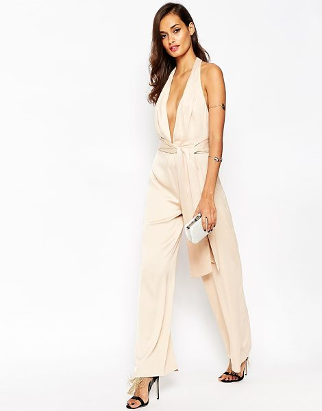 Asos Premium origami plunge jumpsuit in gold - Jumpsuit by ASOS Collection Mid-weight satin Lightly...