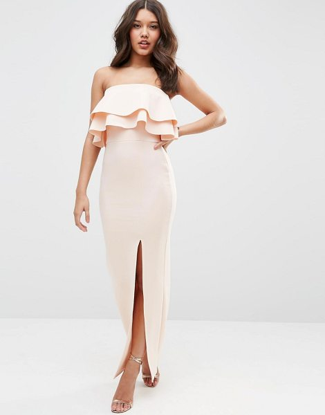 ASOS Premium Ruffle Bandeau Scuba Maxi Dress - Maxi dress by ASOS Collection, Scuba-style fabric,...